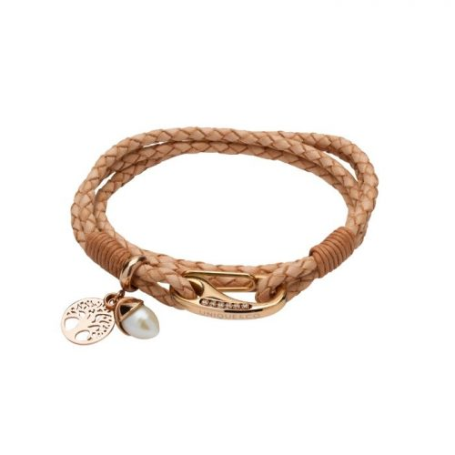 Unique & Co Women's Leather Bracelet With Acorn And Tree Charm Natural
