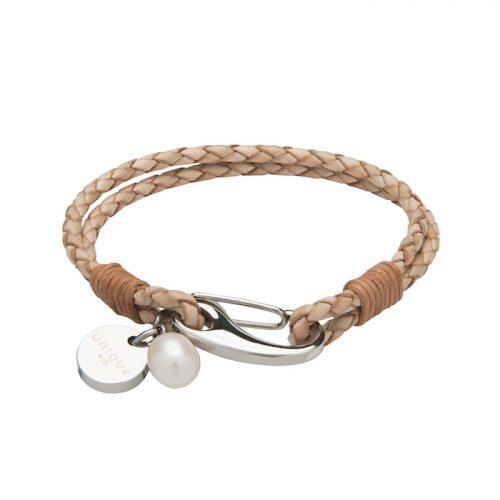 Unique & Co Women's Leather Bracelet With Pearl Charm Natural