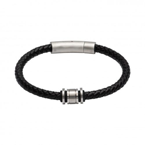 Unique & Co Men's Leather Bracelet With Steel Elements Black
