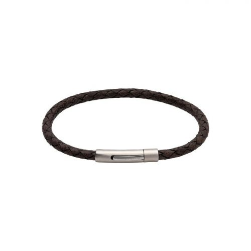 Unique & Co Men's Leather Bracelet Matte Pusher Clasp Dark Brown
