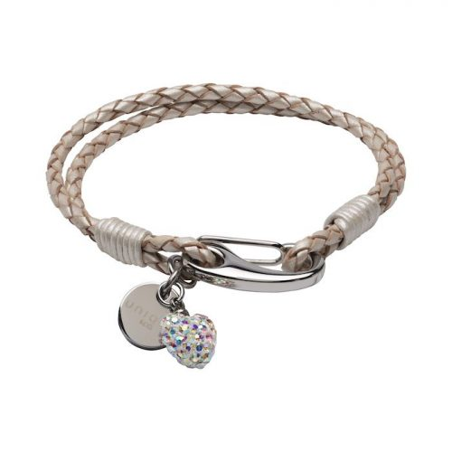 Unique & Co Women's Leather Bracelet With Crystal Heart And Charm Pearl