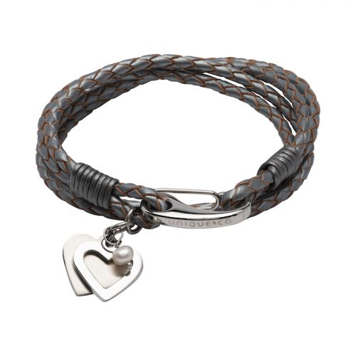 Unique & Co Women's Leather Bracelet With Hearts And Pearl Silver