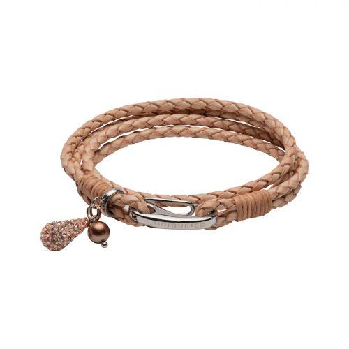 Unique & Co Women's Leather Bracelet With Teardrop Charm Natural