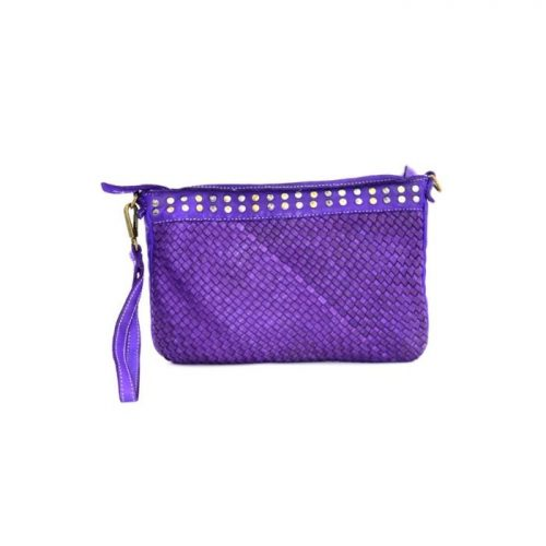 VALERIA Woven Wristlet Bag With Studs Purple