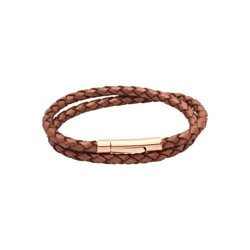 Unique & Co Women's Leather Bracelet Rose Gold Clasp Copper