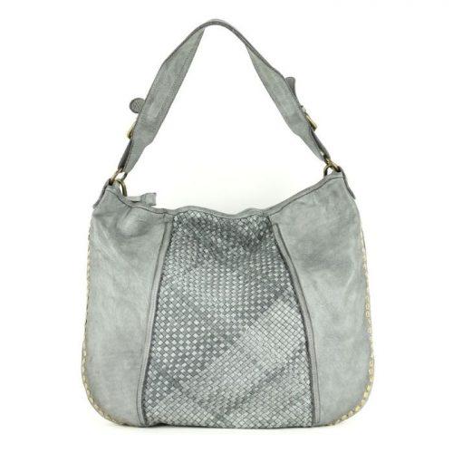MONICA Shoulder Bag With Studs Light Grey