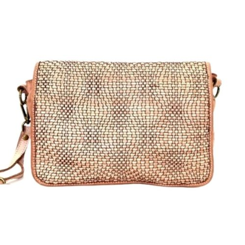 SILVIA Wave Weave Cross-body Bag Blush