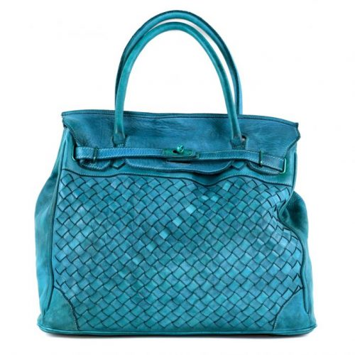 ALICIA Structured Bag Large Weave Teal