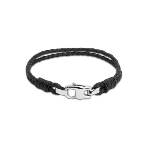 Unique & Co Men's Leather Bracelet Stainless Steel Clasp Black