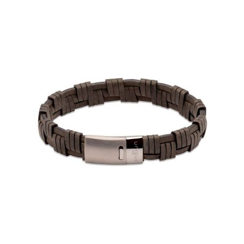 Unique & Co Men's Leather Bracelet Magnetic Clasp Antique Black