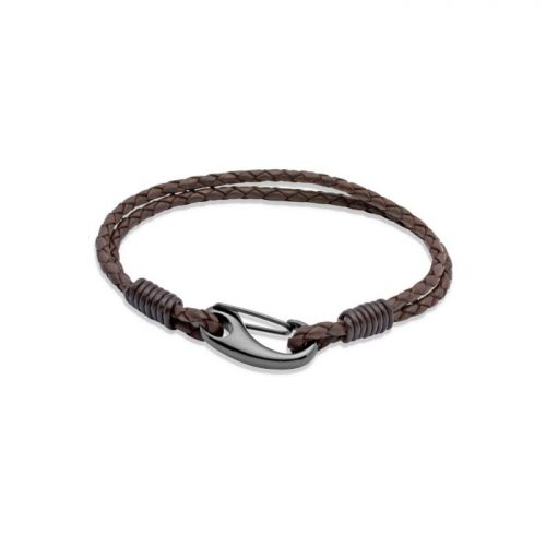 Unique & Co Men's Leather Bracelet Black Shrimp Clasp Dark Brown