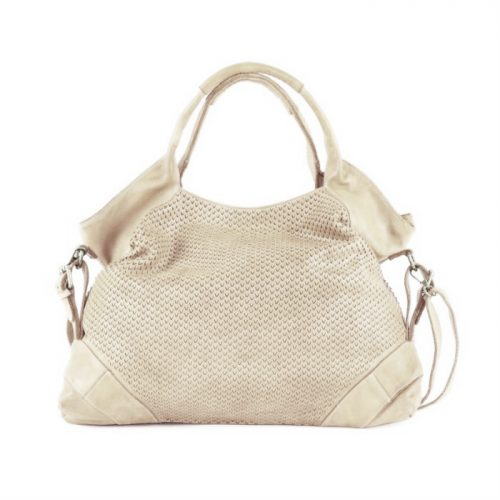 VALENTINA Handbag With V-shaped Laser Cut Beige