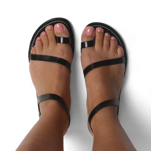 Ischia Leather Sandals – Black