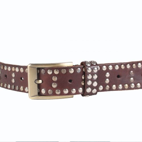 Studded Leather Belt – Chocolate