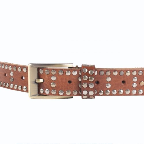 Studded Leather Belt – Tan