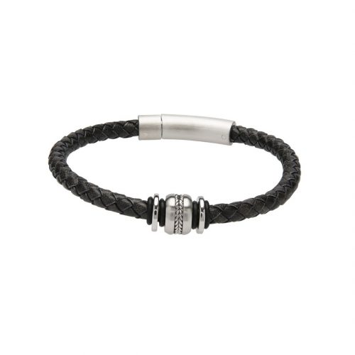 Unique & Co Men's Leather Bracelet With Detailed Steel Element Black