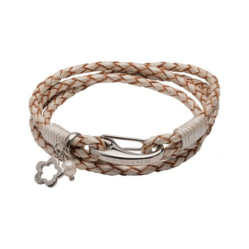 Unique & Co Women's Leather Bracelet With Flower Charm Pearl