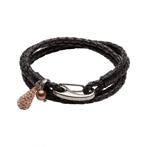 Unique & Co Women's Leather Bracelet With Teardrop Charm Black