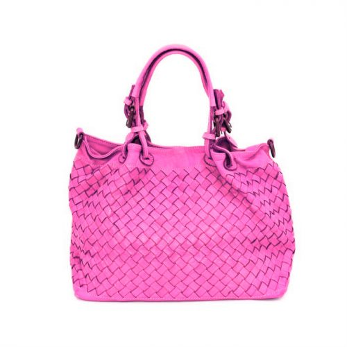 LUCIA Small Tote Bag Large Weave Fuchsia