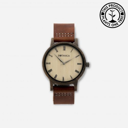 CEDAR Men's Wood & Leather Watch With Brown Strap