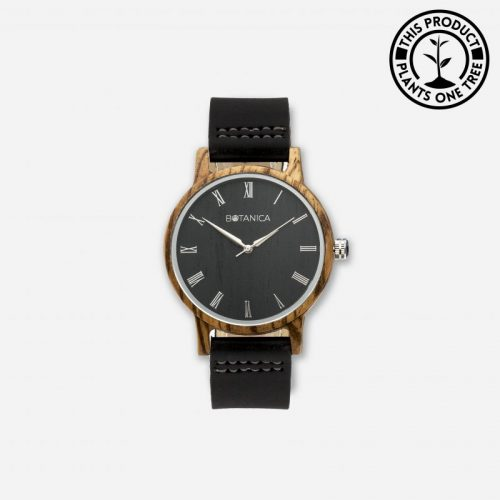IVY Men's Wood & Leather Watch With Black Strap