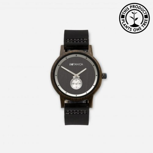 OLIVE Men's Wood & Leather Watch With Black Strap