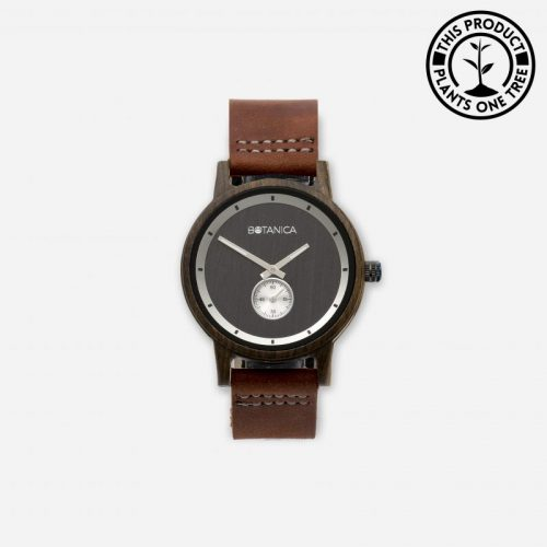 OLIVE Men's Wood & Leather Watch With Brown Strap