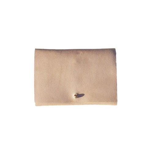 Leather Travel Wallet Beige