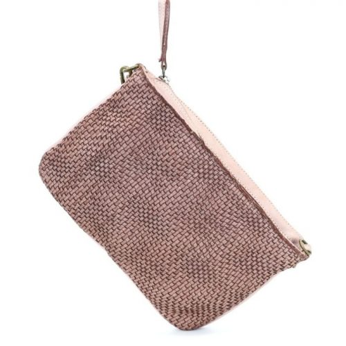 CLAUDIA Woven Wristlet With Wave Effect Blush