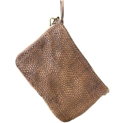 CLAUDIA Woven Wristlet With Wave Effect Dark Brown