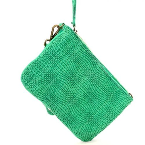 CLAUDIA Woven Wristlet With Wave Effect Emerald Green
