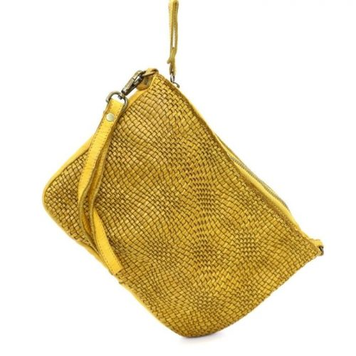 CLAUDIA Woven Wristlet With Wave Effect Mustard