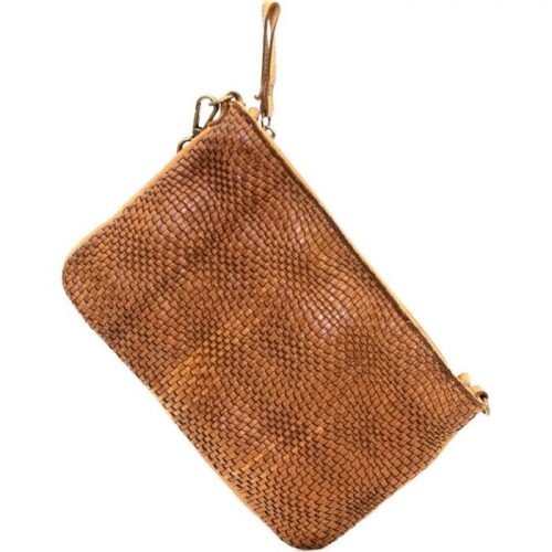 CLAUDIA Woven Wristlet With Wave Effect Tan