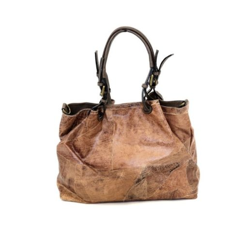 BABY LUCIA Patchwork Leather Small Tote Bag Brown