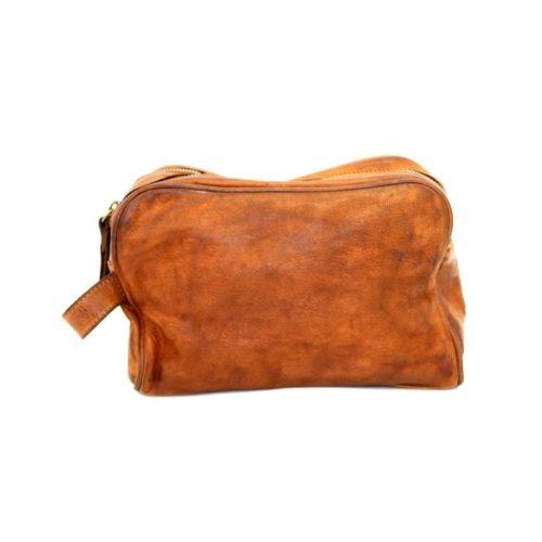 NICOLA Leather Wash Bag Tan
