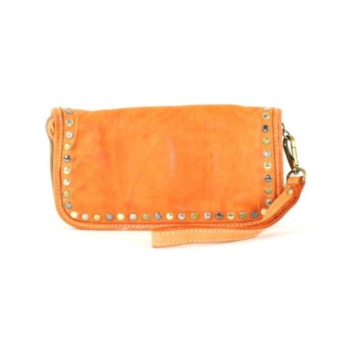 SIMONA Wrist Wallet With Studs Orange