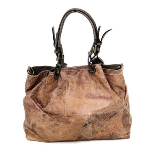LUCIA Patchwork Leather Tote Bag Brown