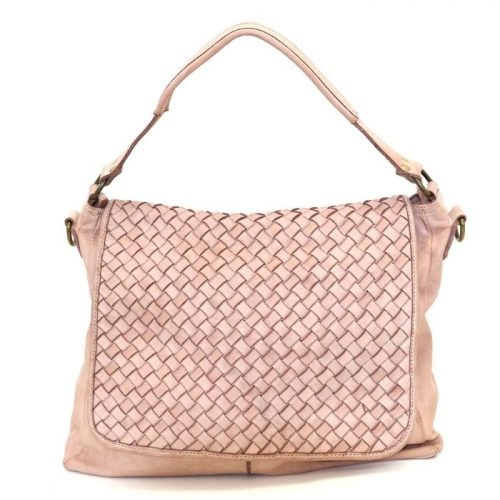 VIRGINIA Flap Bag With Wide Weave Blush