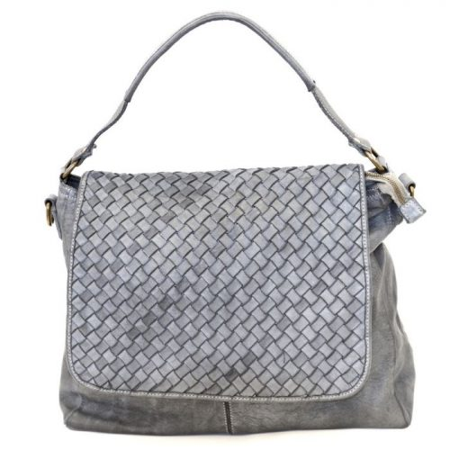 VIRGINIA Flap Bag With Wide Weave Light Grey