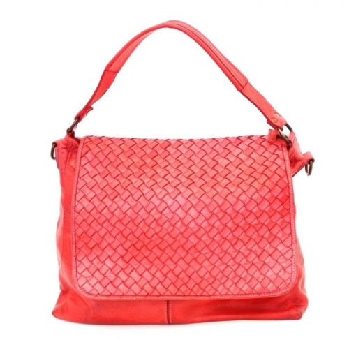 VIRGINIA Flap Bag With Wide Weave Red