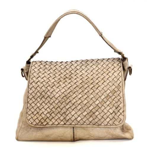 VIRGINIA Flap Bag With Wide Weave Beige