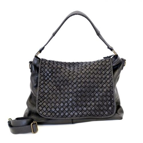 VIRGINIA Flap Bag With Wide Weave Black