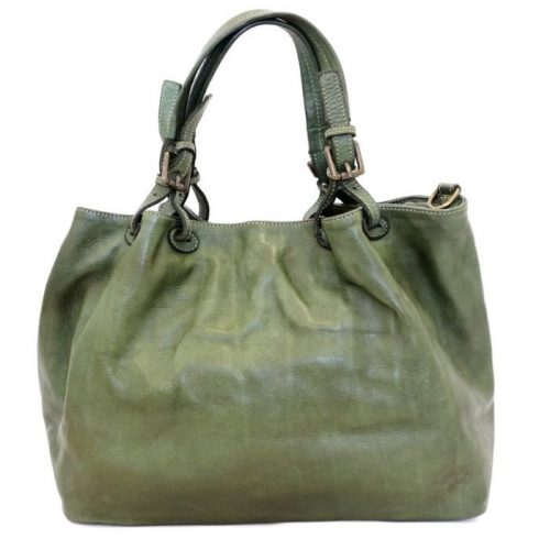 LUCIA Smooth Leather Tote Bag Army Green