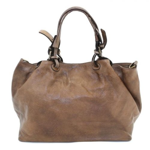 LUCIA Smooth Leather Tote Bag Dark Brown