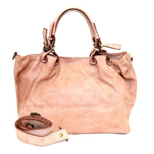 LUCIA Smooth Leather Tote Bag Blush