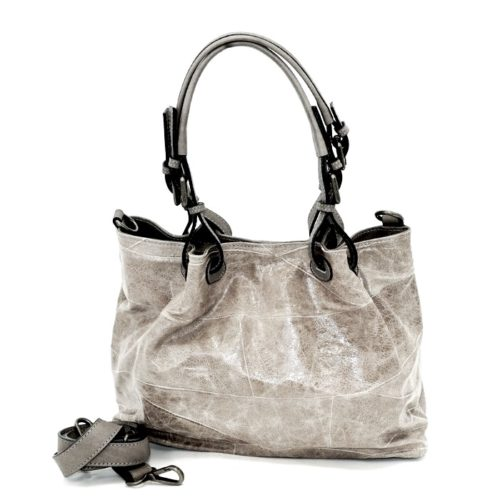 BABY LUCIA Patchwork Leather Small Tote Bag Patent Effect Light Grey