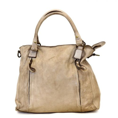 FLAVIA Square Handbag With 2 Zipped Pockets Light Taupe
