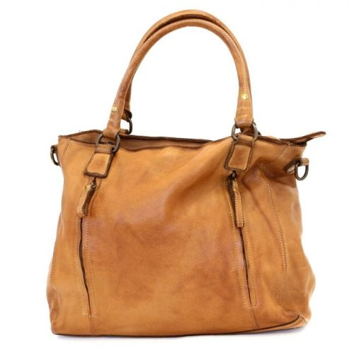 FLAVIA Square Handbag With 2 Zipped Pockets Tan