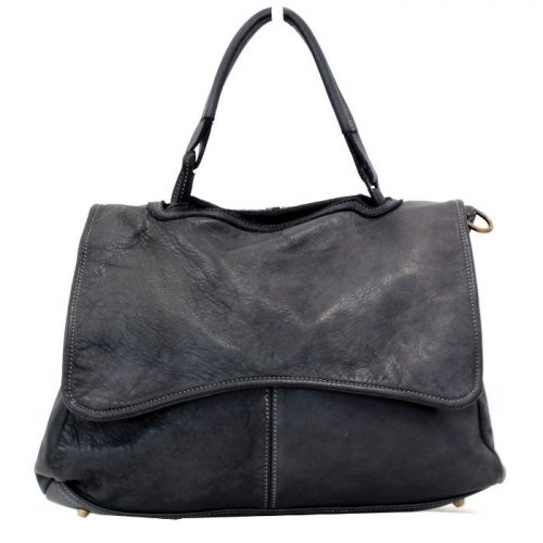MIA Handbag With Curved Flap Black