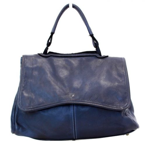 MIA Handbag With Curved Flap Navy